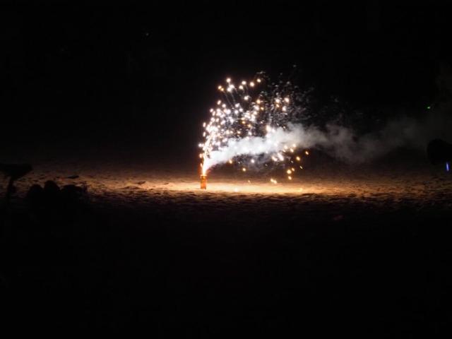 マイアミ夜の海岸での花火
