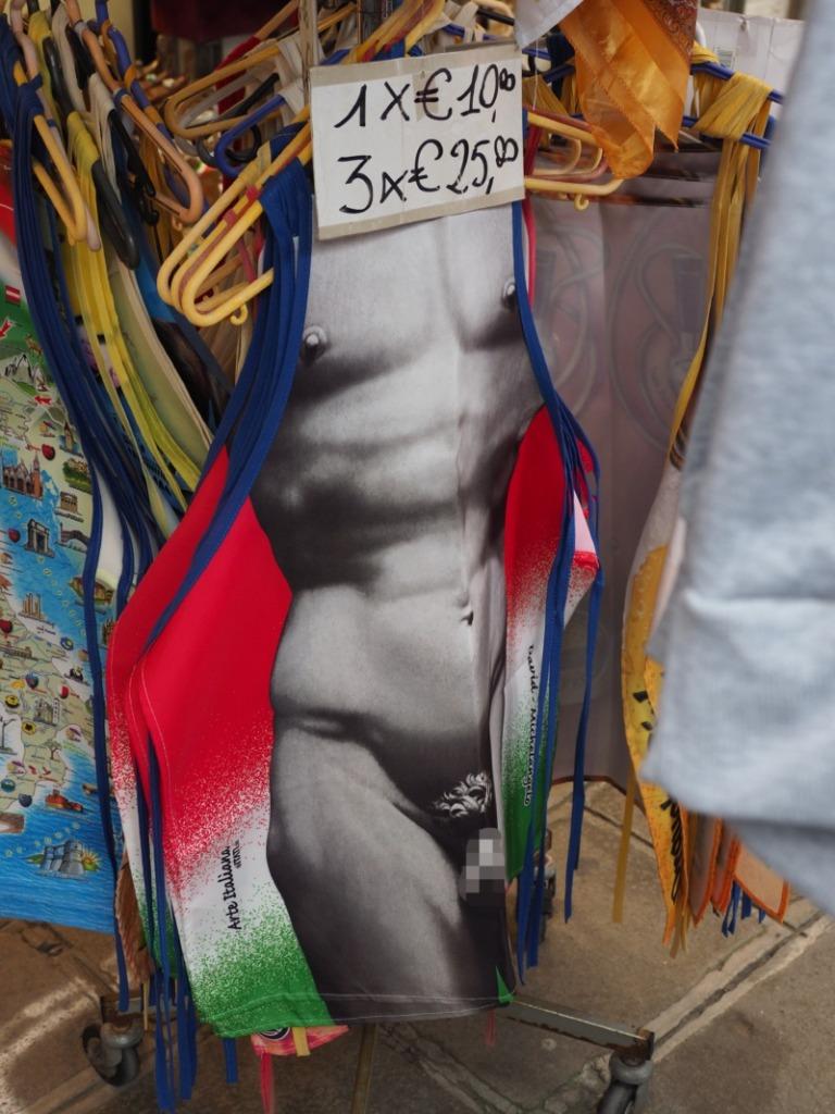 筋骨隆々の男性が描かれたエプロン